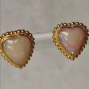 Jewelry - For Liz only! 18K Fire Opal Heart Screw Post Ear.